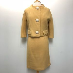 Vintage 60s Wool Skirt Suit Jackie O Small